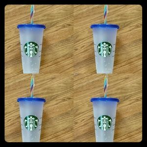 4 Starbucks color changing confetti cups